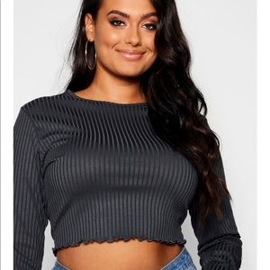 Boohoo Plus Rib Lattice Hem Long Sleeve Crop Top